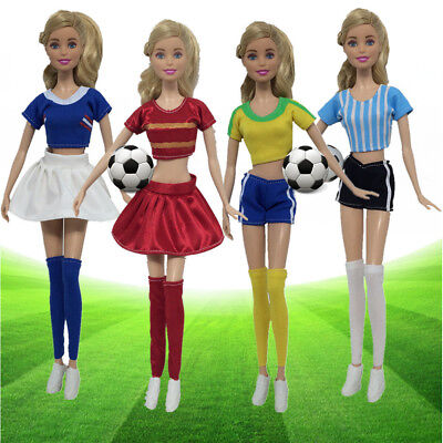 Barbie Dress Up Football Cheerleaders Clothes Doll Accessories Handmade Clothing