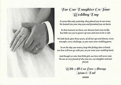 PERSONALISED POEM FROM Mum, Dad, Parents to Our Daughter/Bride Wedding Day  Gift