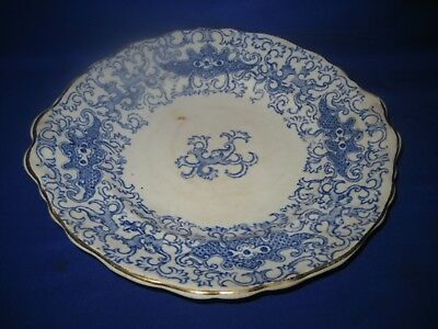 Antique Oriental Blue and White Plate Marked