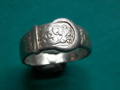 vintage silver stamped chunky buckle ring beach find metal detecting detector