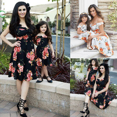 Women Mother Daughter Matching Dresses Summer Girl Flower Party Dress Clothes AU