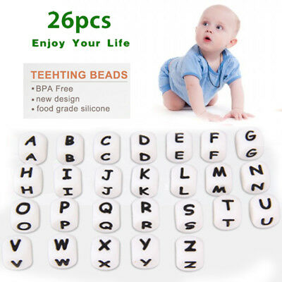 26pcs DIY Letter Safe Silicone Teething Beads For Baby Teether Pacifier Cute A-Z