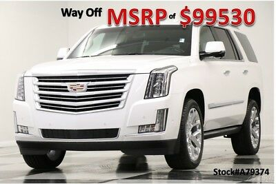 Cadillac Escalade MSRP$99530 4X4 Platinum DVD Sunroof White Diamond New Crystal Tricoat Heated Cooled Black Leather Chairs 22 Inch Chrome Wheels SUV