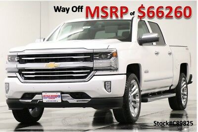 Chevrolet Silverado 1500 MSRP$66260 4X4 High Country DVD Sunroof Iridescent Crew New Heated Cooled Seats Player Navigation White 6.2L V8 22 In Rims 17 18 2017