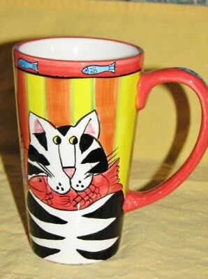 Catzilla Candace Reiter 2000 Hand Painted Cats & Fish Tall Coffee Mug Cup 16 Oz
