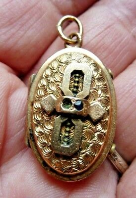 Antique Victorian Art Nouveau Rolled Gold Fancy Locket With Photos