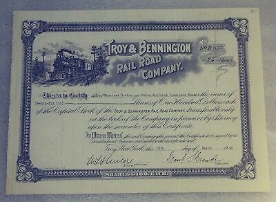 Troy & Bennington Rail Road Co. Uncancelled Stock Certificate N.Y. RR Company