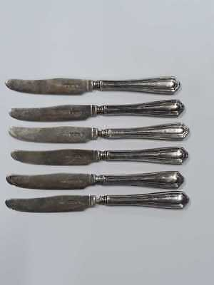 Set Of Six 1940's Silver Butter Knives Sheffield 1946-47