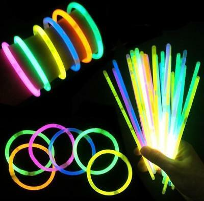 50/100Pcs Glow Sticks Bracelets Necklaces Fluorescent Neon Party Wedding Magic