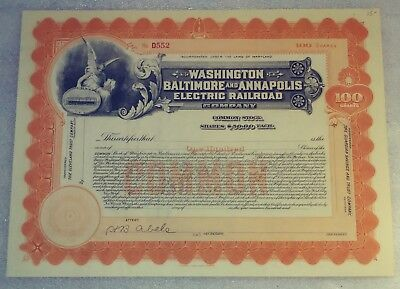 Washington Baltimore and Annapolis Electric Railroad Stock Certificate Maryland