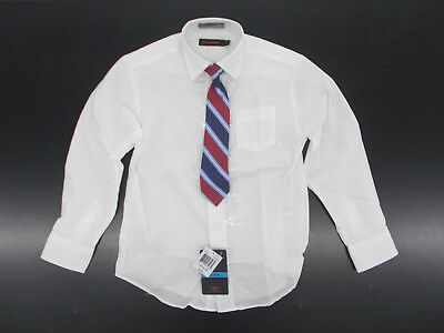Boys Dockers $30 White Dress Shirt w/ Striped Clip-On Tie Size 4 - 10