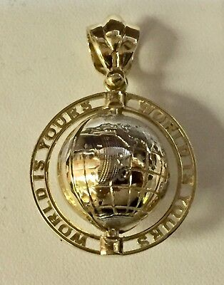 14k Yellow Gold 'World Is Yours' 3D Rotating Earth Globe Charm Pendant -10 grams