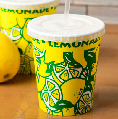 1000 Case 16 Oz Squat with LID Short Paper Lemonade Print Cup Concession Stand
