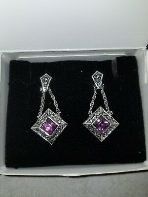 Vtg Avon Sleek Drop Earrings w/Surgical Steel Posts/Faux Amethyst (1992) - NIB