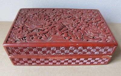 "Antique CHINESE Carved Flowers CINNABAR BOX 5 1/2"" Long VERY OLD"