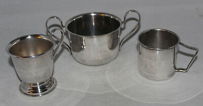 Collection of 3 Different Antique Silver Plated Mugs / Cups / Bowls