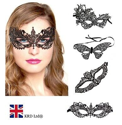 Ladies LACE MASK Halloween Masquerade Ball Venetian Sexy Costume Fancy Dress UK