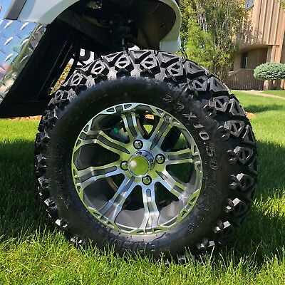 "Set of 4 - Off Road Golf Cart 23"" Tires with 12"" Rims in Gun Metal Color"