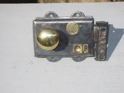 Old Victorian Rim Lock & Spun  Brass Knobs .....circa 1890