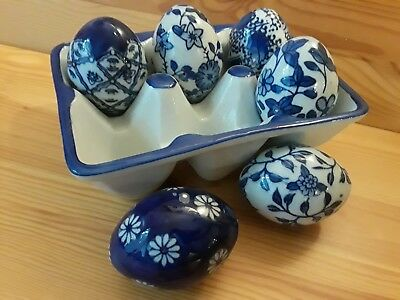 6 Vintage Hand-Painted Porcelain Ceramic Eggs on Blue & White with tray Delft?
