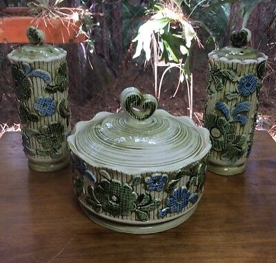 Vintage German Majolica Table Set Covered Dish with Matching Salt & Pepper
