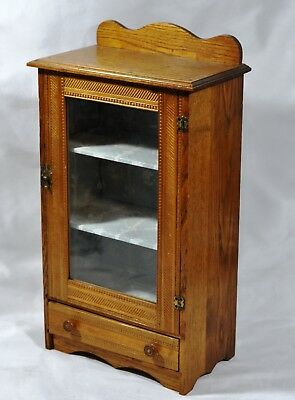 Antique 19 Century Oak Salesman Sample Miniature Glass Door Drawer Cabinet