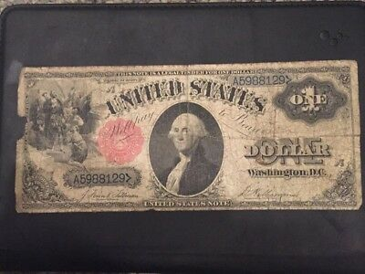 Large 1880 $1 Dollar Bill United States Legal Tender Red Seal Blue Sn Note