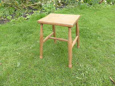 Vintage  Beech Stool, Oblong Top , Straight Turned Legs.