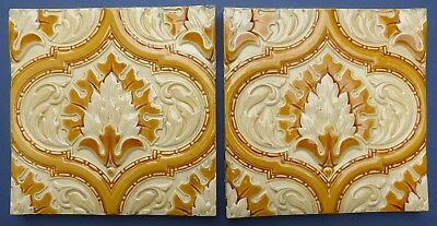 2 Lovely Antique Victorian Minton & Hollins Relief Moulded Majolica Tiles 1850s