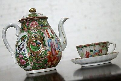 ON SALE! Chinese Qing Rose Medallion Porcelain Teapot with Teacup and Saucer