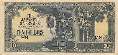 Malaya 10 Dollars, ND 1942-1944 WWII P.M7 Japanese Government Circulated NR