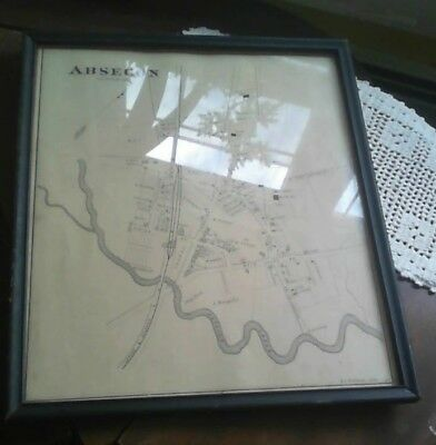 RARE ANTIQUE 1878 ABSECON NEW JERSEY MAP with RAILROAD DETAILED GREAT CONDITION