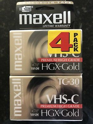 Maxell Camcorder Tape 4 Pack VHS C TC 30 HGX Gold Premium High Grade New Sealed