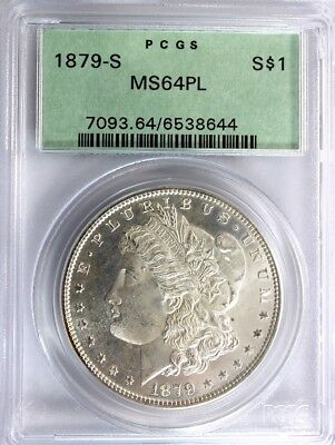 1879 - S. MORGAN SILVER DOLLAR, PCGS MS 64 PL (In an Old Holder)