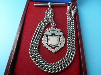 ANTIQUE SOLID SILVER DOUBLE ALBERT CHAIN & DOUBLE SIDED FOB NOT SCRAP 31gm