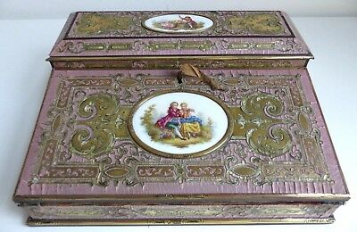 RARE Antique 19th Century French Pink 'Boulle' Writing Slope / Casket - TAHAN?
