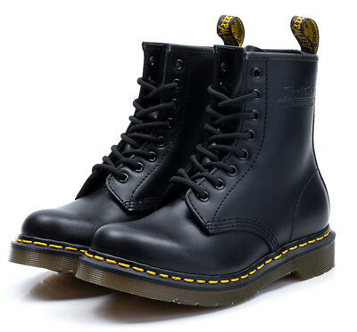 Dr. Martens Airwair 1460 Black Smooth Hard Leather Boots 8 Hole UK 3-10/EU36-45