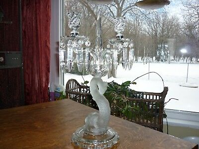Vintage French Baccarat Style Dolphin Candelabra