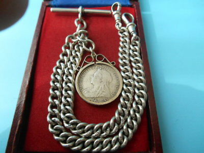 Antique Solid Silver Double Albert Chain & Mounted Victorian Coin 1899 Not Scrap