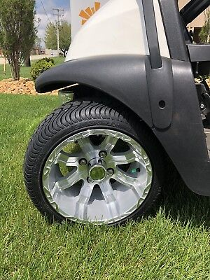 "Set of 4 - Road / Turf Golf Cart 215/35 Tires with 12"" Rims with Silver Color"