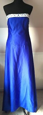 Alfred Angelo sz 16 cobalt blue ivory long  STRAPLESS PROM BRIDESMAID DRESS GOWN