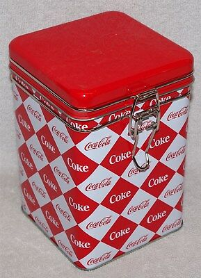 Coca-Cola / Coke Lock-Top Square Tin With Distressed Look, New, Great For Snacks