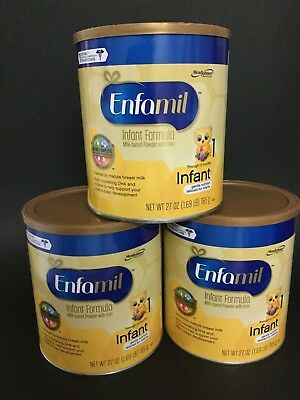 Lot of 3 Cans Enfamil Infant Baby Formula Powder with Iron, 27 oz AUG 2018