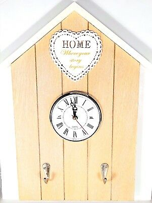 Vintage Style Hanging Wooden Wall Clock And Key Hanger