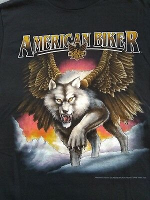3D Emblem Graphic T-Shirt American Biker Usa 90's 50/50 Wolf With Wings Medium