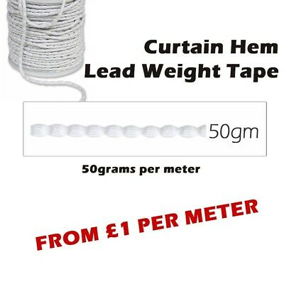 Light Curtain Hem Weight Tape 50g per Meter Length - Ideal for Net & Voil Drapes