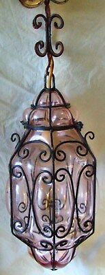 Large Vintage Glass & Wrought Iron Cased Pendant Lamp Lantern - Wired/working