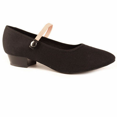 Low Heel Black Canvas Character Shoes with Suede Sole. UK Size 10 up to 8