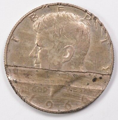 50c 1966 Kennedy Half 35% Partial Missing Clad Layer AU Damage