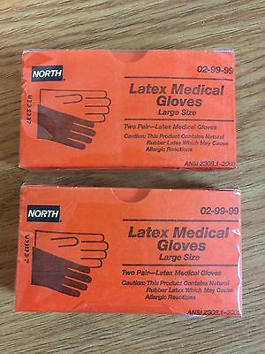 ( LOT of 2/BOXES Latex Medical Gloves (2 pair/Box) Size Large